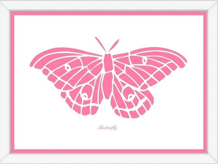 Pink Butterfly Framed Child۪'s Wall Art