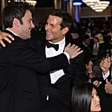 Bradley Cooper shared a hug and a laugh with Ben Affleck. Source: Larry Busacca/NBC/NBCU Photo Bank/NBC