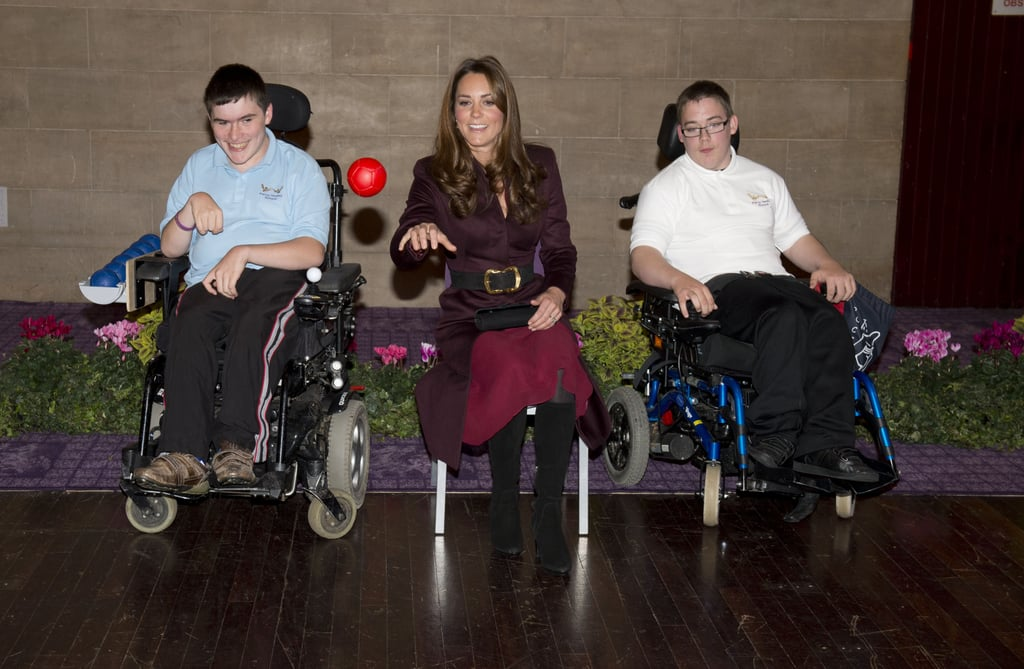Kate Middleton took part in an exercise with students while touring the Newcastle Civic Centre.