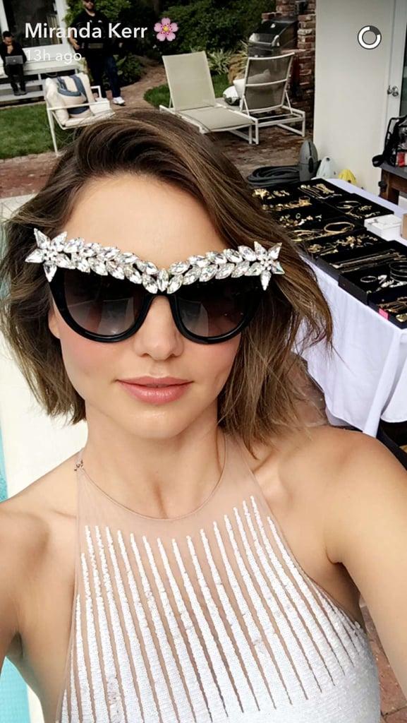 b410dc67fcf98 Miranda Kerr s Embellished Sunglasses June 2016