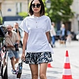 On your easiest days, throw on a loose t-shirt over a printed mini and go.