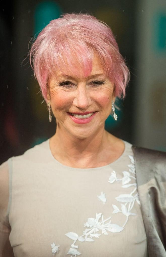Helen Mirren debuted her new pink hair 'do at the BAFTA Awards.