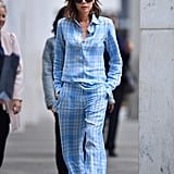 Victoria styled a sky-blue plaid set from her Resort 2018 line while out in Manhattan in June 2017.