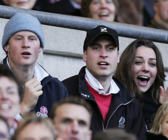 Kate Middleton joined Prince William and his brother, Prince Harry, in February 2007 to watch as England and Italy battled it out on the rugby field.