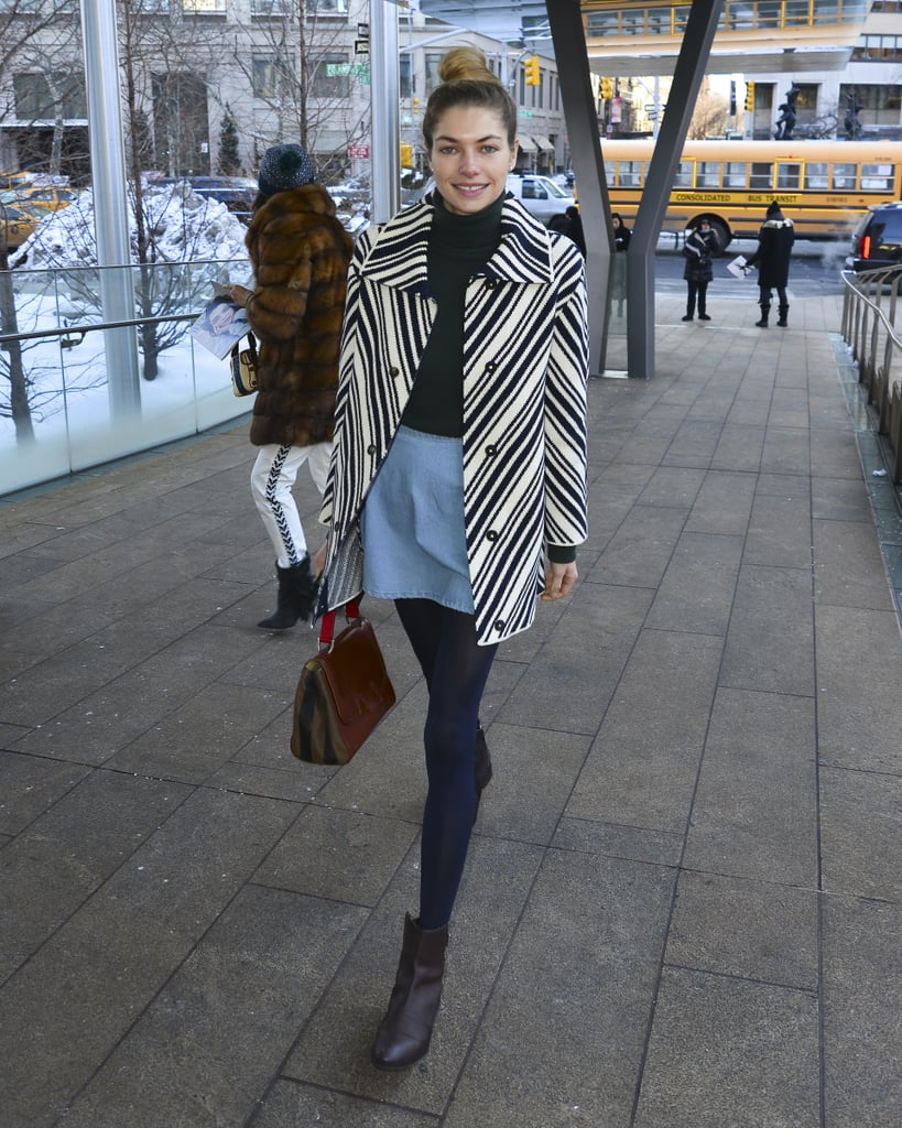 Black and white geometric stripes upped Jess Hart's cool-weather look at NYFW.