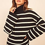 Reformation Fern Boxy Turtleneck Yak Down Sweater
