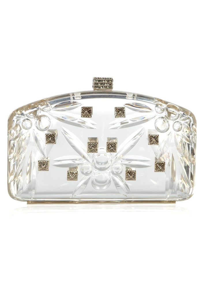 This embellished clutch is pure glamour.  Valentino Crystal-Embellished Perspex Clutch ($3,695)