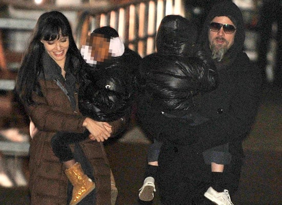 Photos of Angelina Jolie and Brad Pitt with Zahara on the set of Salt in New York
