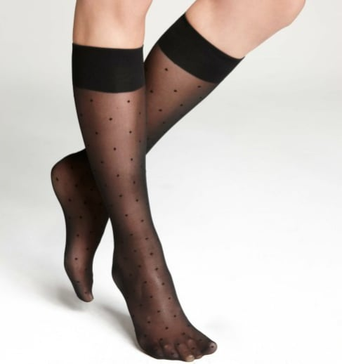 If lace isn't really your thing, but you'd like to try on the sheer sock trend, opt for Ann Taylor's dot knee highs ($8), which provide a much more playful vibe. Peeking out from a mid-calf boot, these socks will set a charming tone.