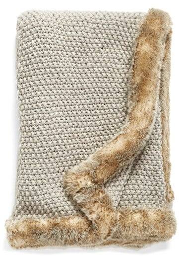 Nordstrom Faux Fur Border Knit Throw ($99)