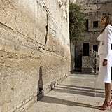 Melania's Red and White Striped Pumps