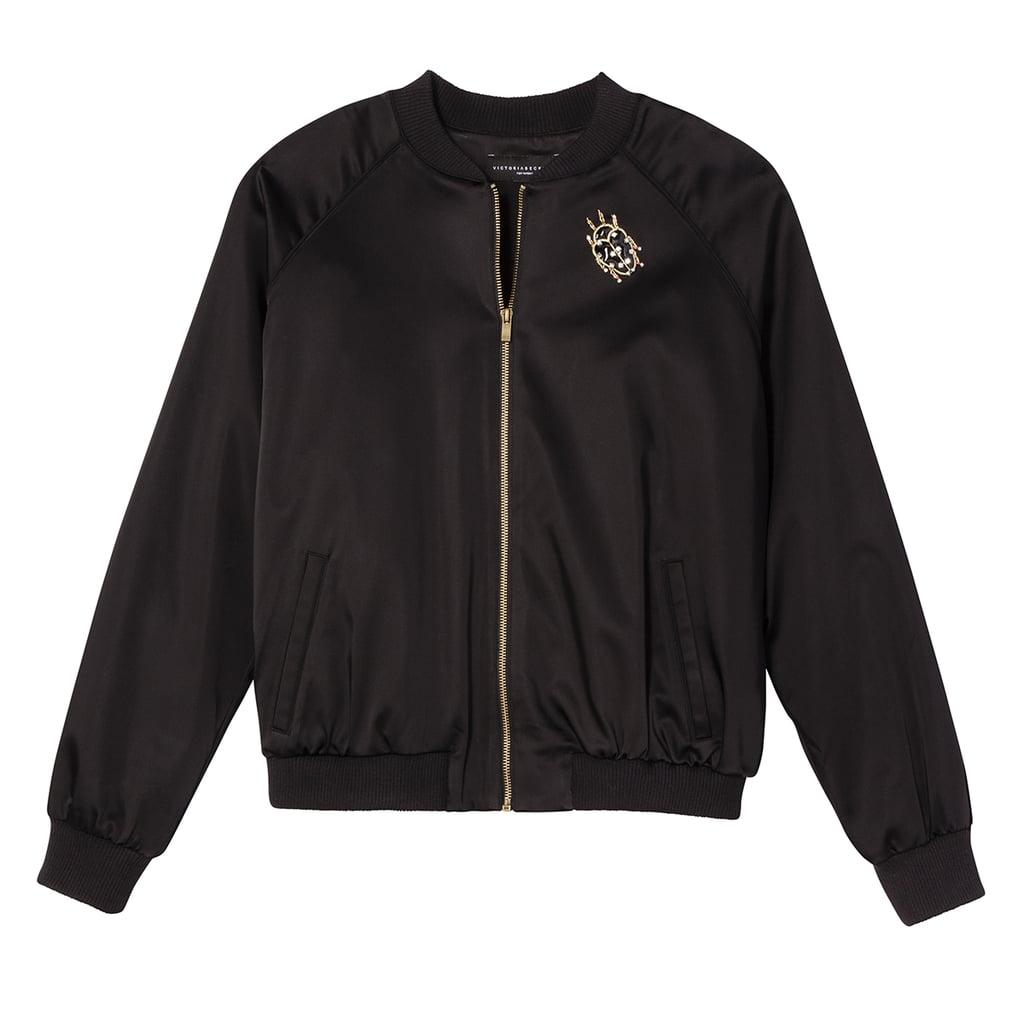 Black Satin Embellished Bug Bomber Jacket ($70)