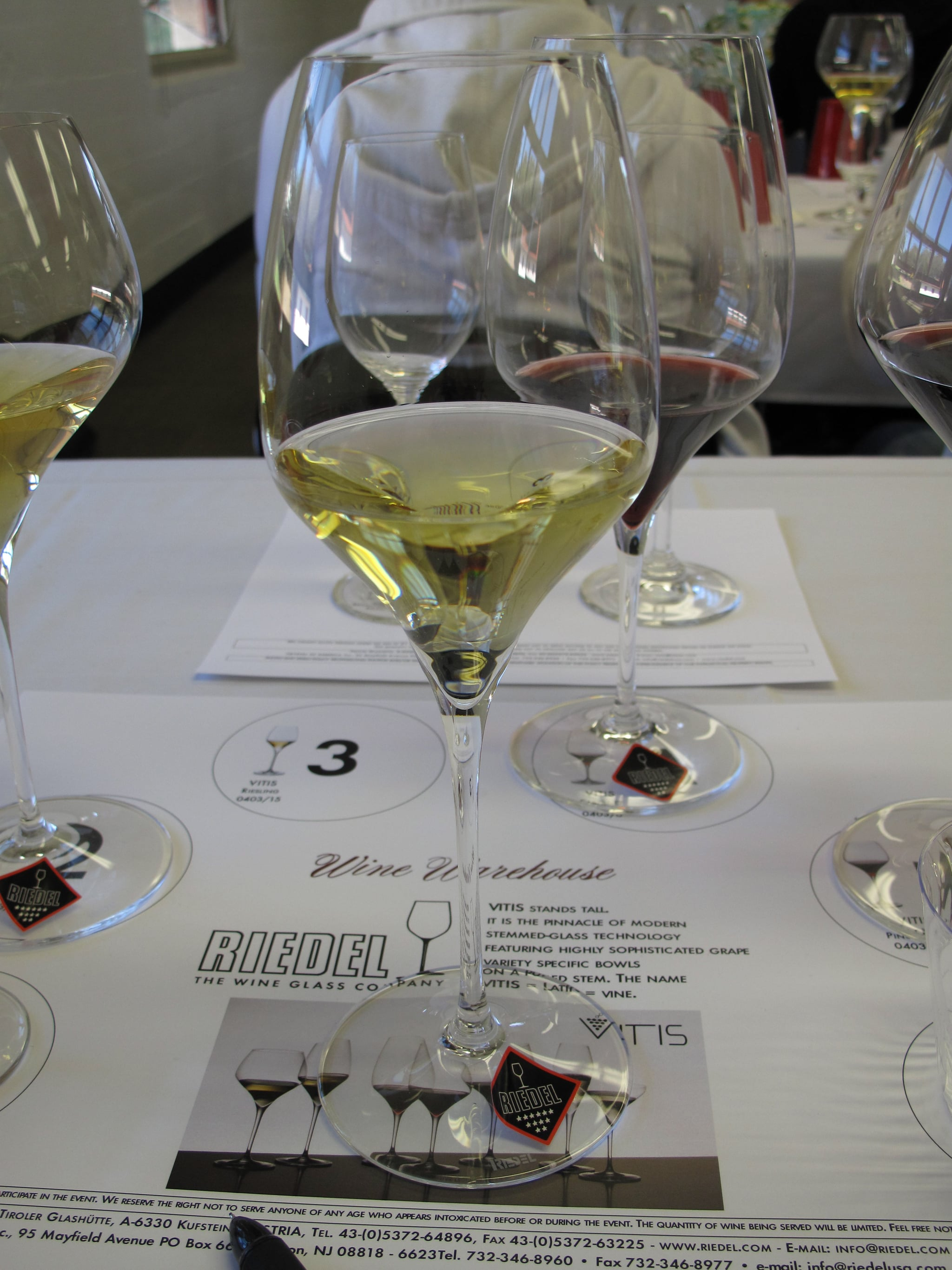The Riedel Vitis glass designed for Riesling and Sauvignon Blanc allowed our German Riesling to hit the tip of the palate first, registering diesel notes on the nose, as well as qualities of lychee, herbs, and honey.
