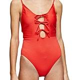 Topshop Tie-Front Seersucker One-Piece Swimsuit