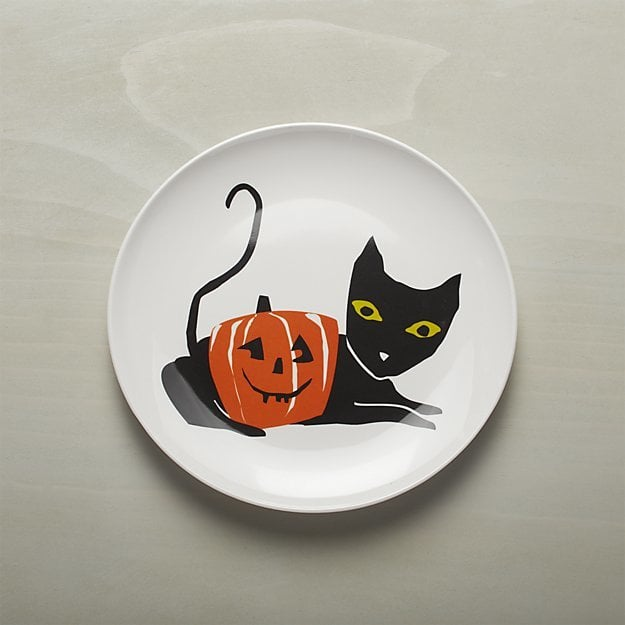 Halloween Black Cat Melamine Dinner Plate ($6) & Halloween Black Cat Melamine Dinner Plate ($6) | Crate and Barrel ...