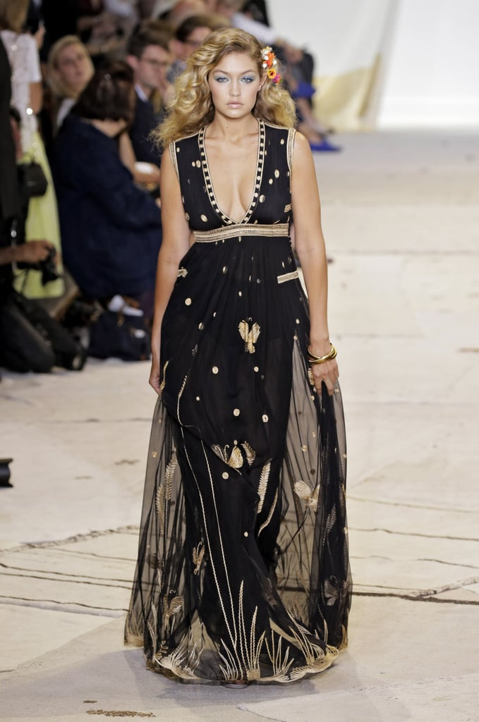 Gigi was the last to walk at DVF's Spring '16 show, and it's plain to see why. The supermodel showed off a gorgeous sheer gown with ornate details.