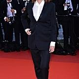Susan Sarandon wore a Saint Laurent suit and flats to the Café Society premiere.