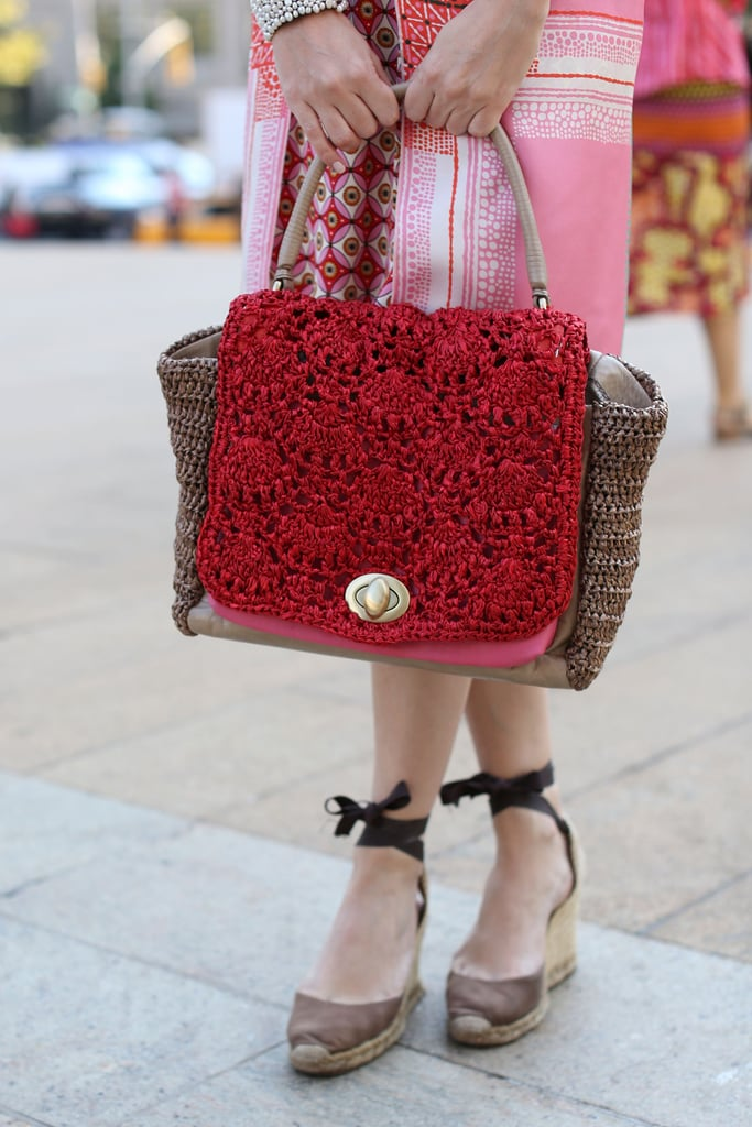 Such a pretty woven satchel — this kind of piece would distinguish any look.