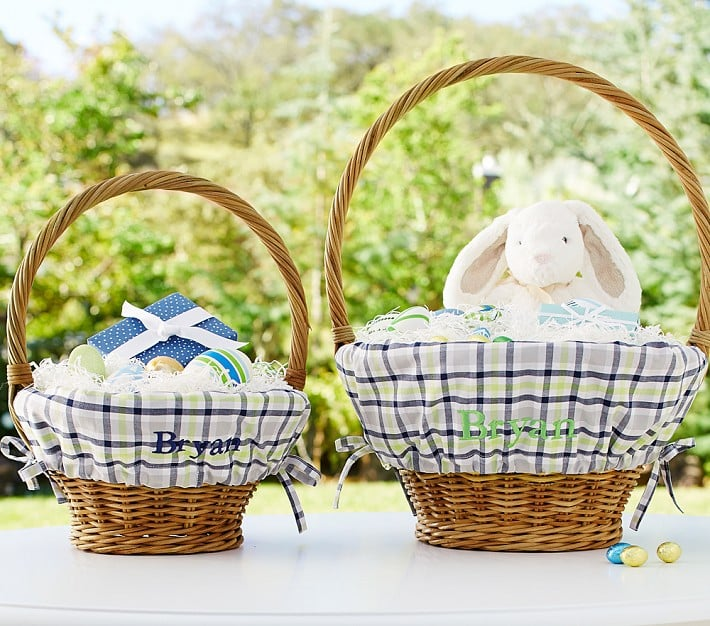 Blue and White Plaid Easter Basket Liners and Baskets