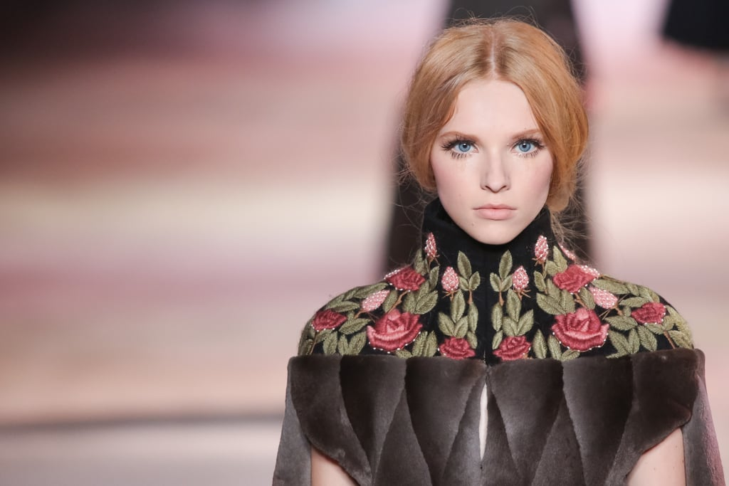 Embroidered flowers at the neckline made an impact at the Ulyana Sergeenko Haute Couture Fall 2013 show.
