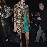 Nicky Hilton provided textural intrigue via a mod-inspired leopard fur coat front row at the Diane von Furstenberg show.