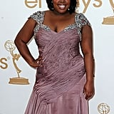 Amber Riley, who stars in best comedy nominee Glee, walked the red carpet.