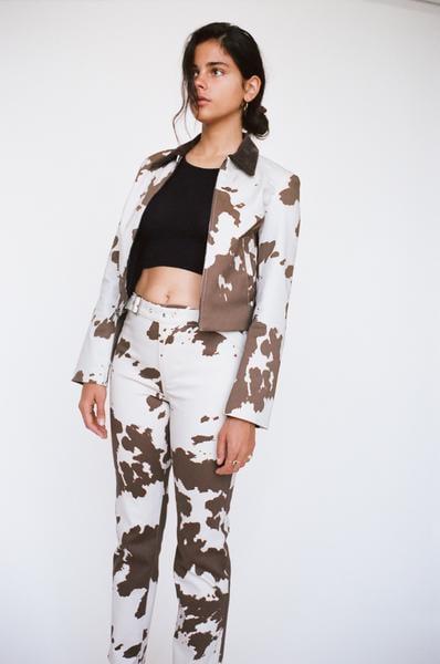 Miaou Lou Pants in Cow Print