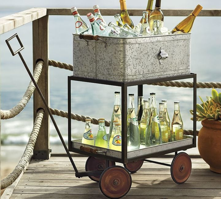 Pottery Barn Metal Rolling Wagon Party Bucket ($199)