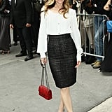 Leslie Mann rocked a high-waisted skirt on her way into Chanel in July 2012.
