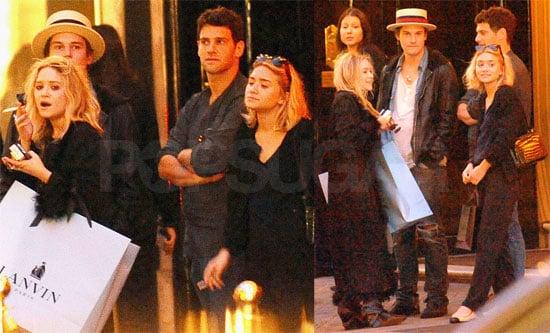 Photos of Ashley Olsen, Mary-Kate Olsen, Justin Bartha, Nate Lowman in Paris During Fashion Week