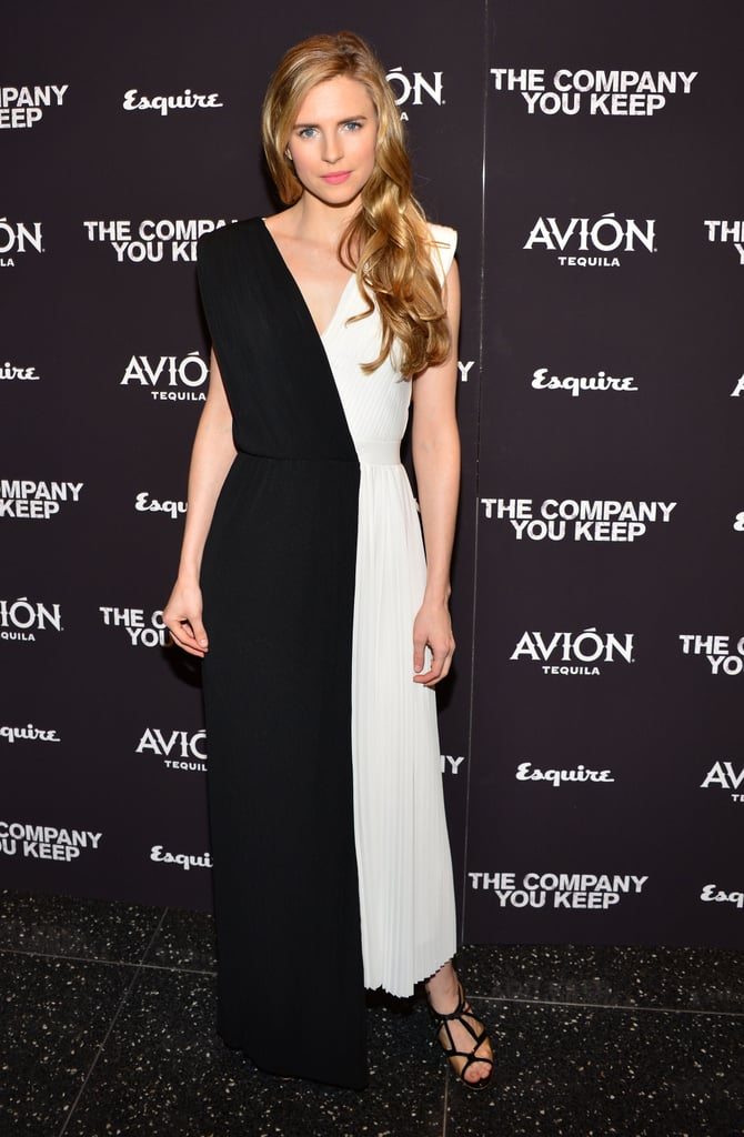 Brit Marling donned a beautiful Viktor & Rolf black and white silk gown with pleated detailing at The Company You Keep premiere in NYC.