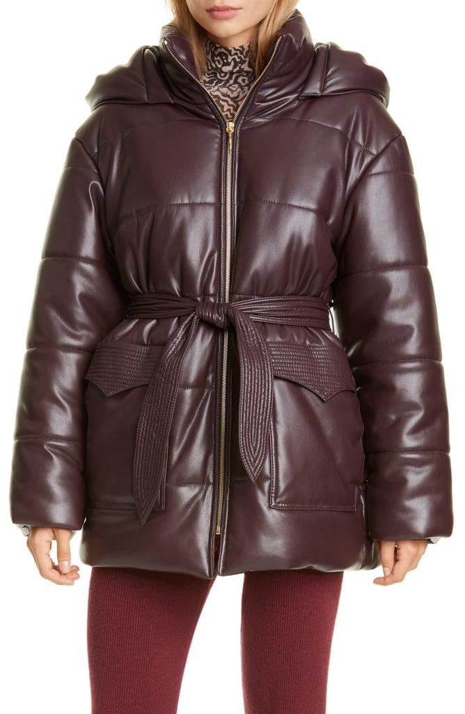 Nanushka Lenox Faux-Leather Belted Puffer Coat