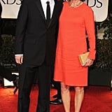 Owen Wilson looks so sweet next to his mom Laura Wilson at the Golden Globes.