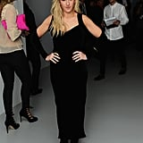 Ellie Goulding got dressed up in a black gown for the PPQ party.