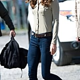 Kate wore J. Brand jeans and her Sebago Bela loafers for a casual outing at the Old Town Float Base. She tucked a comfortable button-down into her denim and secured the look with a belt.