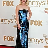 Claire Danes wore a metallic blue gown to the 2011 Emmy Awards.