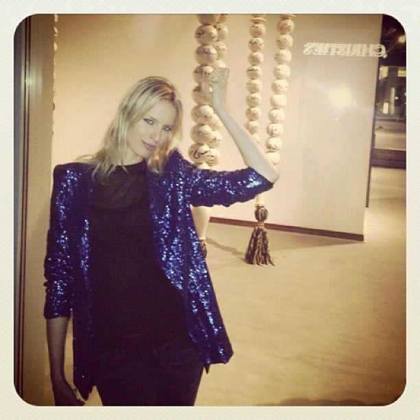 Karolina Kurkova wore a sequined jacket. Source: Instagram user therealkarolinakurkova