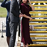 Day 12: Meghan Markle Wearing a Hugo Boss Dress and Aquazzura Heels
