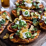 Chicken Chili Con Carne Stuffed Sweet Potato Skins