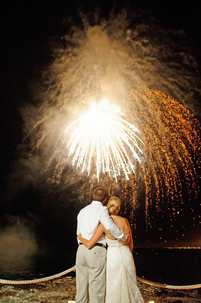 Fireworks lit up the Mexican skies for this couple's exotic nuptials.