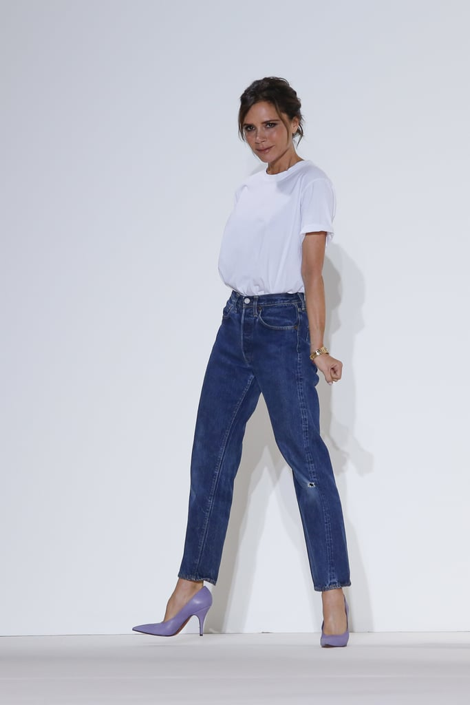 Victoria Beckham Took a Bow Wearing a White Tee Tucked Into a Pair of Mom Jeans