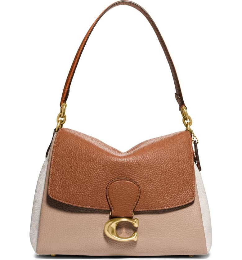 Coach May Colorblock Pebble Leather Shoulder Bag