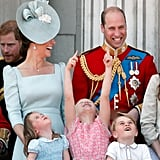 The happy dad caught a case of the giggles on the balcony of Buckingham Palace at Trooping the Colour in June.