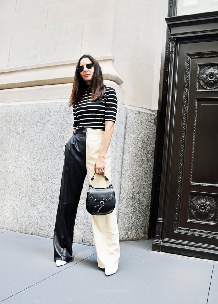 Easy Outfit Ideas: Leather Pants, a Striped Top, and Boots