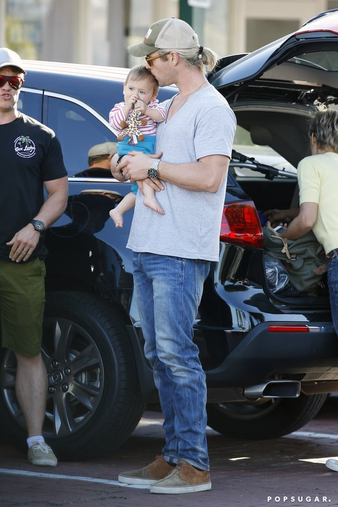 Chris Hemsworth kissed his daughter, India, on the head.