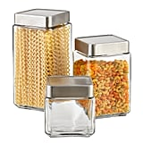 Set of Anchor Hocking Glass & Brushed Aluminum Canisters