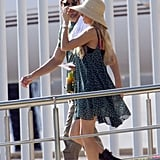 Enrique Iglesias and Anna Kournikova walked and talked as they began their vacation.