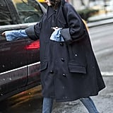 Leandra Medine made an oversize swing coat the focal point.