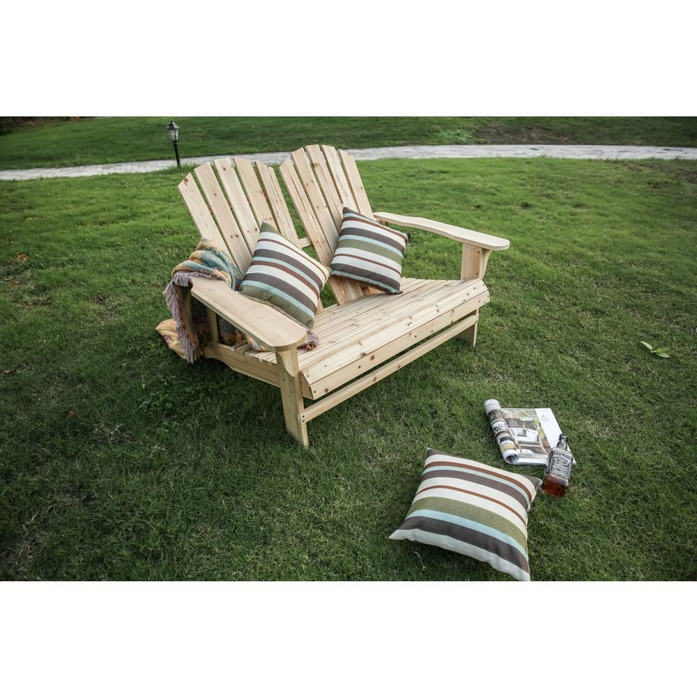 Patio Festival Natural Wood Double Adirondack Chair
