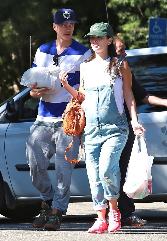 Rachel Bilson's baby bump was on display in overalls during her shopping trip with Hayden Christensen in LA on Sunday.